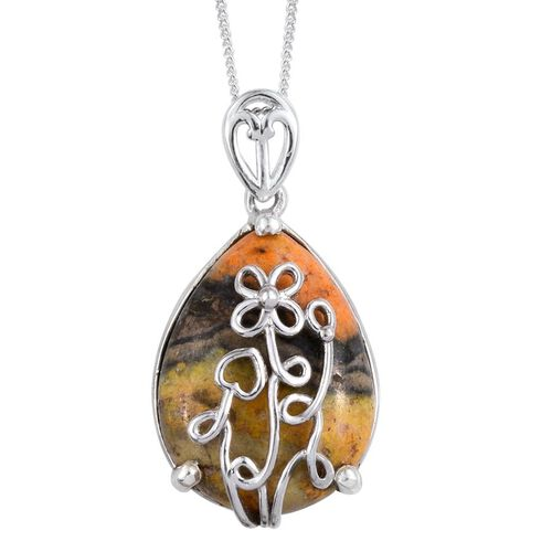 Bumble Bee Jasper (Pear) Pendant With Chain in Platinum Overlay Sterling Silver 10.500 Ct.