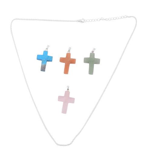Brazilian Green Quartz, Pink, Blue and Yellow Quartz 4 Cross Pendant With 1 Chain in Silver Bond 49.000 Ct.
