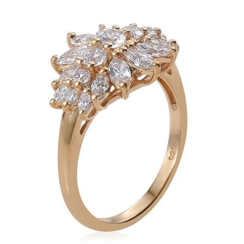 J Francis - 14K Gold Overlay Sterling Silver (Rnd) Floral Ring Made with SWAROVSKI ZIRCONIA