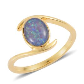 Boulder Opal (Ovl) Solitaire Ring in Yellow Gold Overlay Sterling Silver 1.000 Ct.