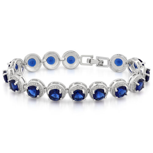 JCK Vegas Collection AAA Simulated Sapphire (Rnd) Bracelet (Size 7) in Silver Bond