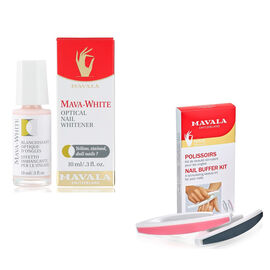 Mavala Stained Nails Kit- Buffer and Mava-White 10ml