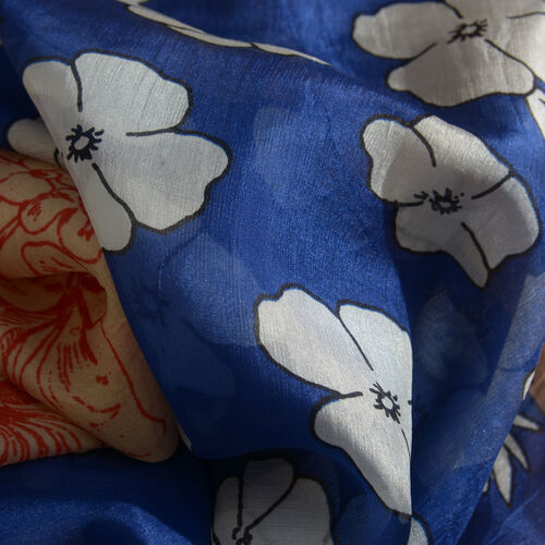 100% Mulberry Silk Royal Blue, Chocolate and Multi Colour Scarf (Size 180x100 Cm)