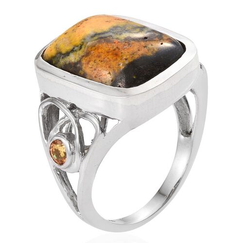 Bumble Bee Jasper (Cush 16.10 Ct), Yellow Sapphire Ring in Platinum Overlay Sterling Silver 16.500 Ct.