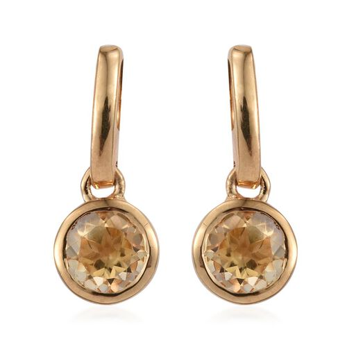 Citrine (Rnd) Earrings (with Push Back) in 14K Gold Overlay Sterling Silver 1.250 Ct.