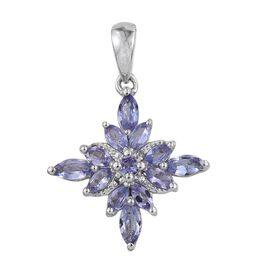 Tanzanite (Mrq), Diamond Pendant in Platinum Overlay Sterling Silver 1.010 Ct.
