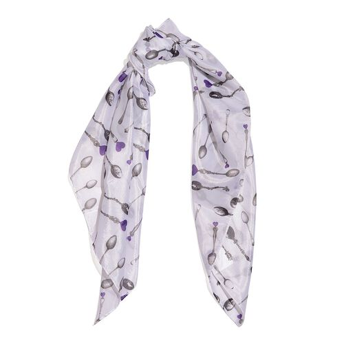 TJC One for One Special - Spoons Printed Scarf (Size 70x70 Cm)