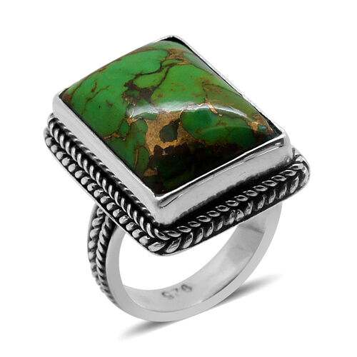 Royal Bali Collection Mojave Green Turquoise (Oct) Solitaire Ring in Sterling Silver  11.190 Ct.