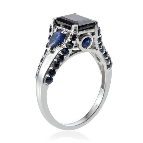 Kanchanaburi Blue Sapphire (Oct 2.75 Ct) Ring in Platinum Overlay Sterling Silver 4.500 Ct.