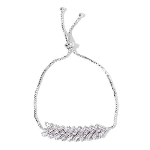 AAA Simulated White Diamond Adjustable Bracelet (Size 6.5 to 9) in Silver Tone