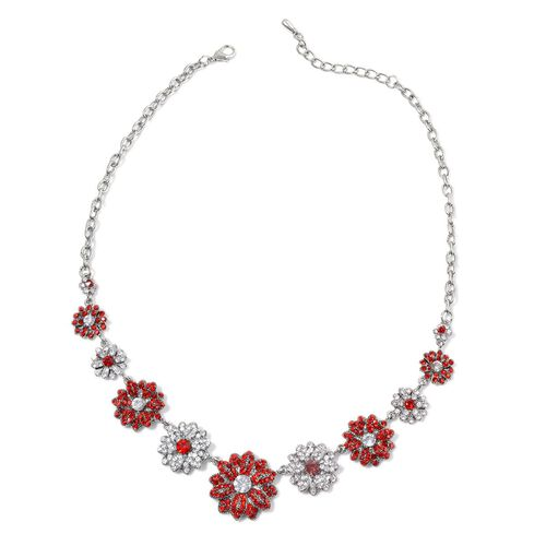 Red and White Austrian Crystal Floral Necklace (Size 20) in Silver Tone