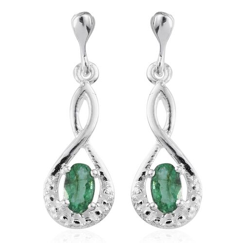 Kagem Zambian Emerald (Ovl) Earrings (with Push Back) in Sterling Silver 0.500 Ct.