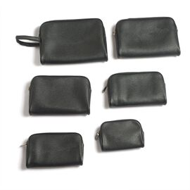 Set of 6 - Faux Leather Black Colour Jewellery Pouch