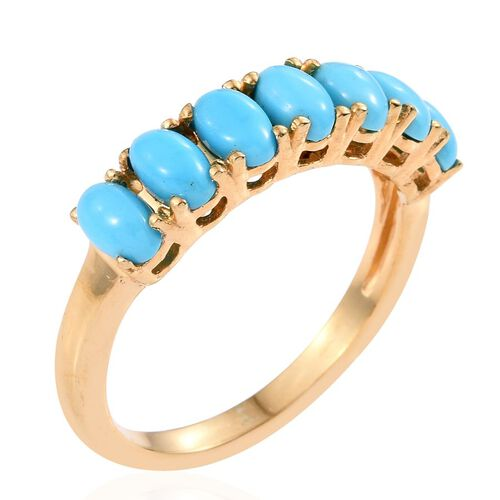 Arizona Sleeping Beauty Turquoise (Ovl) 7 Stone Ring in 14K Gold Overlay Sterling Silver 1.750 Ct.