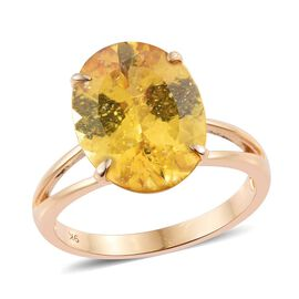 One Time Deal- Very Rare AAA  Golden Apatite (Ovl) Solitaire Ring in 9K Y Gold. Total Ct Wt 9.00 Ct.