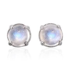 Rainbow Moonstone (Rnd) Stud Earrings (with Push Back) in Platinum Overlay Sterling Silver 2.000 Ct.