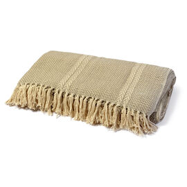 Home Textiles - 100% Cotton Light Beige and Grey Colour Fish Bone Pattern Woven Bedcover with Fringes (Size 270x220 Cm)