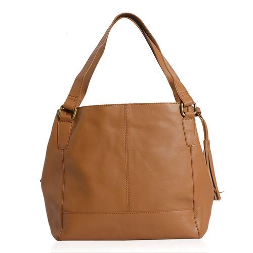 Yvette Genuine Leather Tan Colour Shoulder Bag