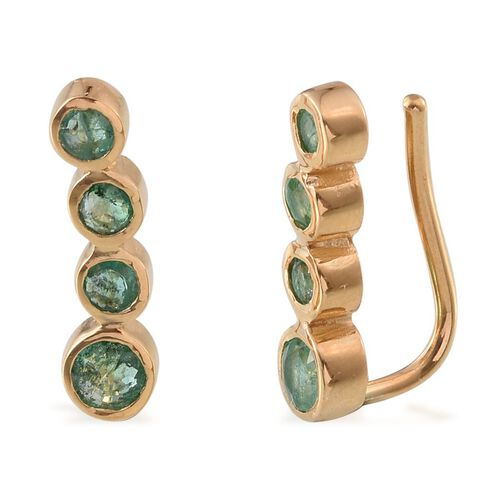 Kagem Zambian Emerald (Rnd) Climber Earrings in 14K Gold Overlay Sterling Silver 1.000 Ct.