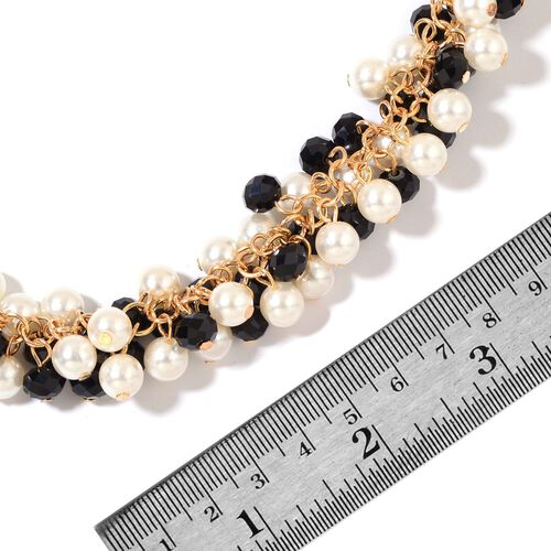 Simulated Black Spinel and Simulated Pearl Necklace (Size 20 with 2.5 inch Extender) in Yellow Gold Tone