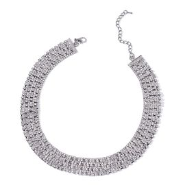 AAA White Austrian Crystal Choker Necklace (Size 18 with 3 inch Extender) in Black Tone