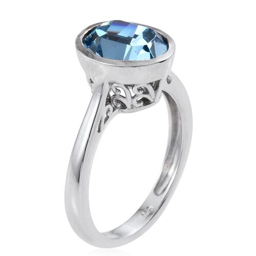 Crystal from Swarovski - Aquamarine Colour Crystal (Ovl) Solitaire Ring in Platinum Overlay Sterling Silver