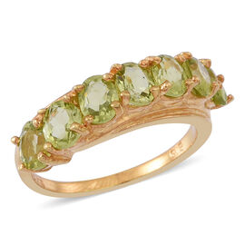 AA Hebei Peridot (Ovl) 7 Stone Ring in Yellow Gold Overlay Sterling Silver 3.000 Ct.