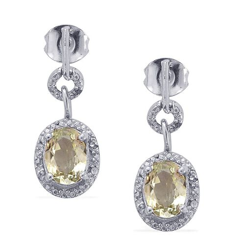Green Sillimanite (Ovl), Diamond Drop Earrings in Platinum Overlay Sterling Silver 2.000 Ct.