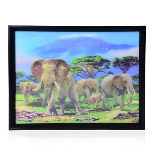 Wall Decor - Elephants Framed 4D Wall Painting (Size 41x31.15x2 Cm)
