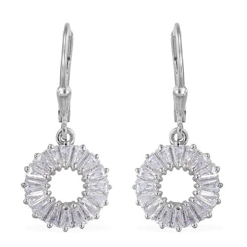 J Francis - Platinum Overlay Sterling Silver (Bgt) Lever Back Earrings Made with SWAROVSKI ZIRCONIA