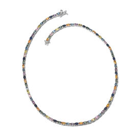 Rainbow Sapphire (Ovl) Necklace (Size 18) in Platinum Overlay Sterling Silver 28.000 Ct.