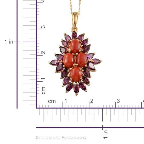 Natural Mediterranean Coral (Ovl), Rhodolite Garnet Pendant with Chain in 14K Gold Overlay Sterling Silver 6.750 Ct.