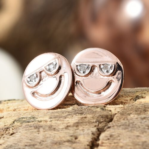 Diamond Happy Smiley Stud Earrings  in Rose Gold Overlay Sterling Silver