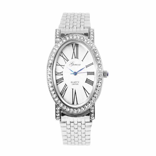 GENOA Japanese Movement White Austrian Crystal Water Resistant Watch in Stainless Steel