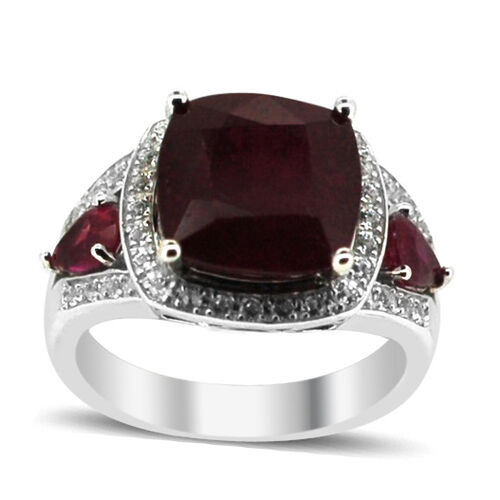 African Ruby (Cush 6.17 Ct), White Topaz Ring in Rhodium Plated Sterling Silver 9.250 Ct.