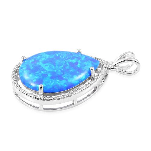 (Option 2) Simulated Ocean Blue Opal Pendant in Rhodium Plated Sterling Silver