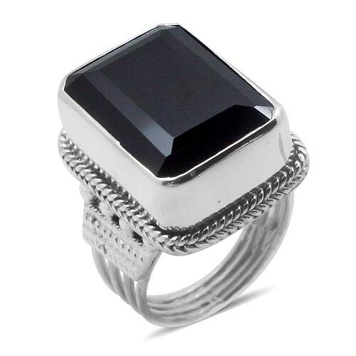 Royal Bali Collection Boi Ploi Black Spinel (Oct) Solitaire Ring in Sterling Silver 23.620 Ct.