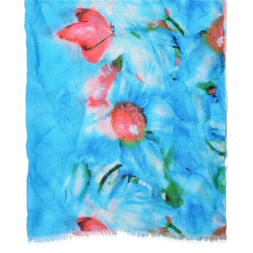 Designer Inspired 100% Wool Multi Colour Floral Pattern Blue Colour Scarf (Size 180x70 Cm)