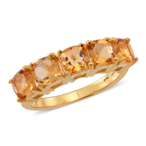 Citrine (Cush) 5 Stone Ring in 14K Gold Overlay Sterling Silver 2.500 Ct.