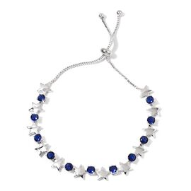 AAA Simulated Blue Sapphire Star Tennis Adjustable Bracelet (Size 7 to 10) in Silver Tone