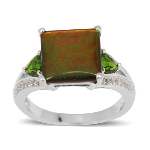 Canadian Ammolite (Sqr 3.25 Ct), Russian Diopside and White Topaz Ring in Platinum Overlay Sterling Silver 3.950 Ct.