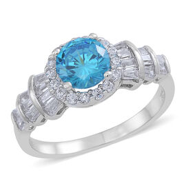 ELANZA AAA Simulated Neon Apatite (Rnd), Simulated White Diamond Ring in Rhodium Plated Sterling Silver
