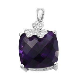 Lusaka Amethyst (Cush), Diamond Pendant in Platinum Overlay Sterling Silver 9.010 Ct.