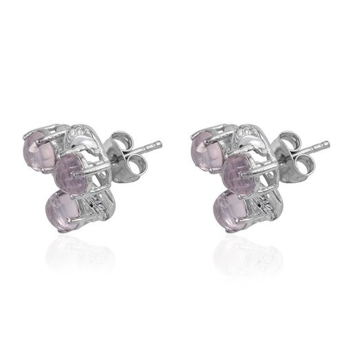 Rose Quartz (Rnd) Earrings (with Push Back) in Platinum Overlay Sterling Silver 2.750 Ct.