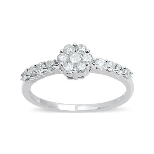 9K White Gold SGL Certified Diamond (Rnd) (I3/G-H) Ring 0.500 Ct.
