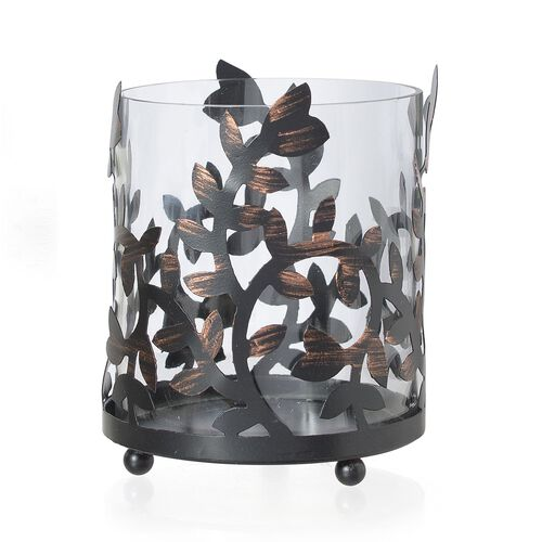 Floral Pattern Metal and Glass Candle Holder