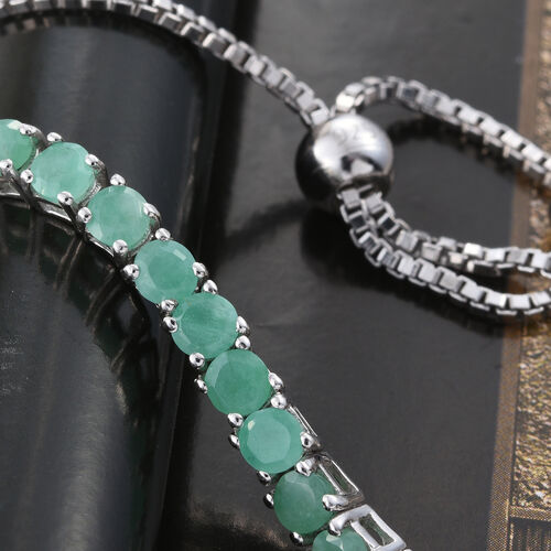 Limited Edition AAA Brazilian Emerald (Rnd) Adjustable Bracelet (Size 6.5 to 8) in Platinum Overlay Sterling Silver 2.500 Ct.