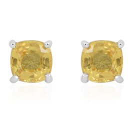 Ceylon Yellow Sapphire (Cush) Stud Earrings in Rhodium Plated Sterling Silver 1.250 Ct.