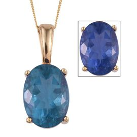 Colour Change Fluorite (Ovl) Pendant With Chain in 14K Gold Overlay Sterling Silver 14.000 Ct.