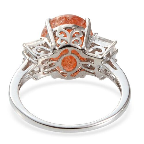 Tanzanian Sun Stone (Ovl 3.75 Ct), White Topaz Ring in Platinum Overlay Sterling Silver 4.750 Ct.